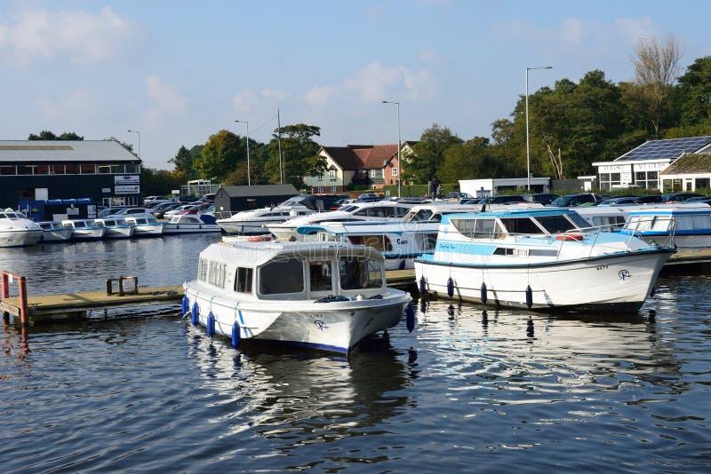 Large pleasure Boats on River Yare centre for tourism on Norfolk Broads. Wroxham Norfolk , United Kingdom - October 25, 2016: Large pleasure Boats on River Yare stock image