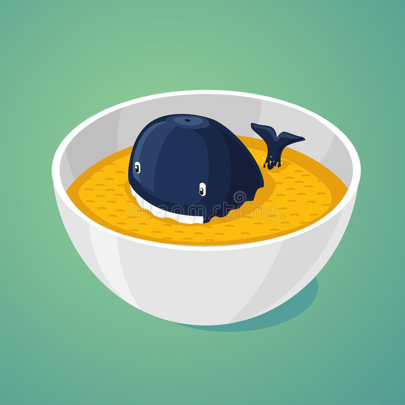 Large portion. Blue whale in the plate of food. vector illustration
