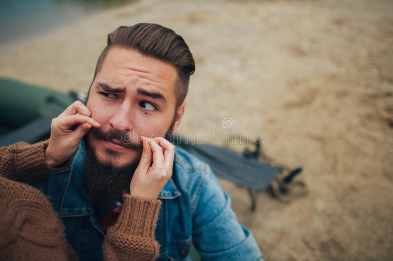 A large portrait of a man with a beard in nature royalty free stock images
