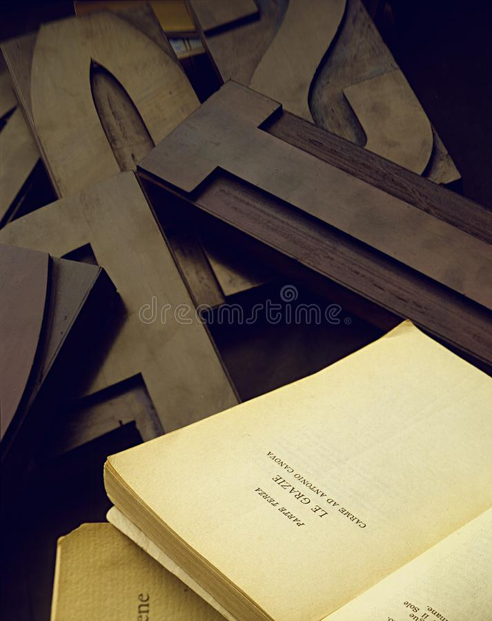 Typography, fonts, movable type, wood and old pages stock image