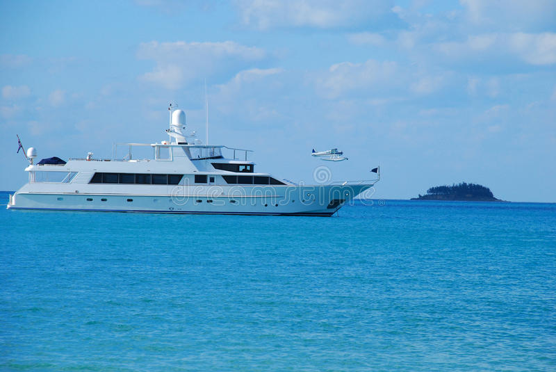 Large private motor yacht at sea royalty free stock photography