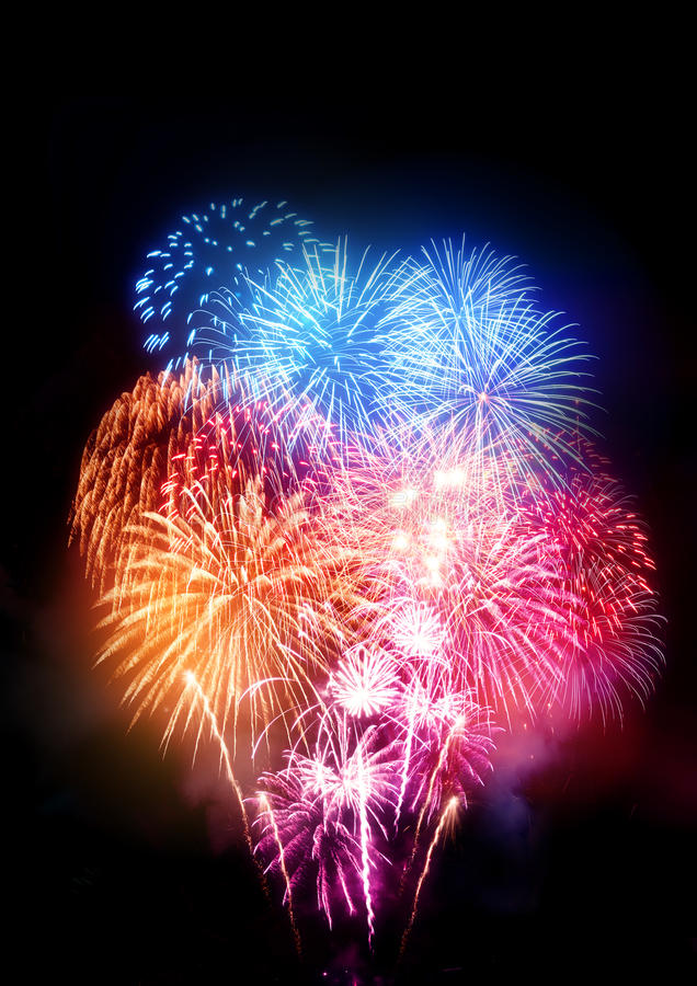 Large Professional Fireworks Display. A large fireworks display for all types of celebrations royalty free stock photos