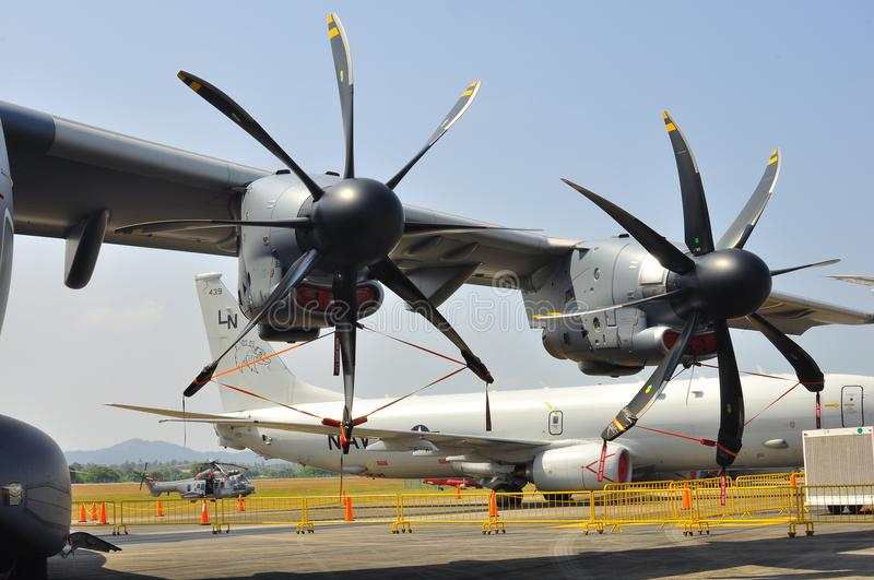 The large propellers of military transport aircraft stock photography