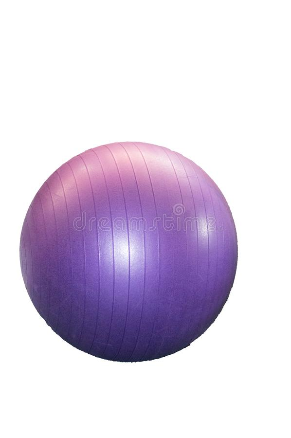 Large purple fitness ball isolated on white background by clipping, vertical frame stock photos