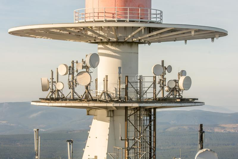 Technique on a radio mast in detail. A large radio mast with satellites on the Brocken in the Harz, Saxony-Anhalt stock photos