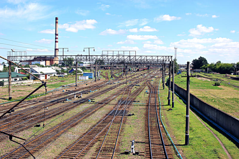 Large railway junction. Railway junction on July 19, 2014 in Baranovichi, Belarus royalty free stock images
