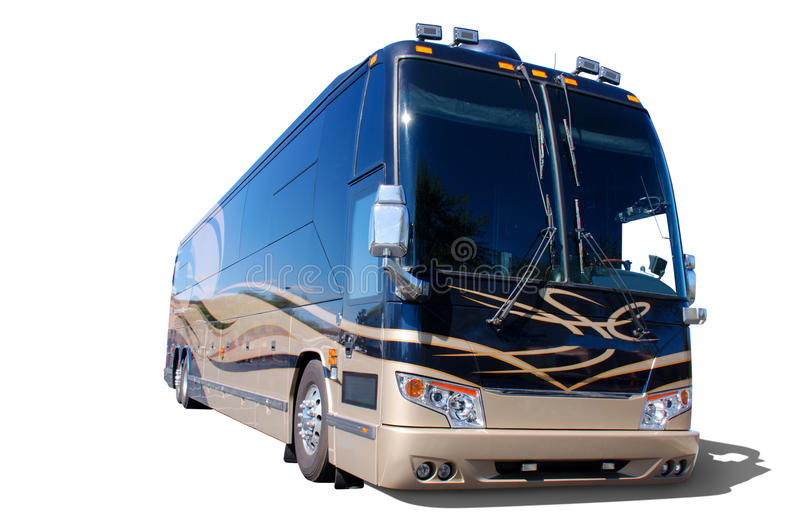 Large recreational vehicle RV on white. A very large recreational vehicle that is clean, shiny and colorful on a white background with a soft shadow stock photo