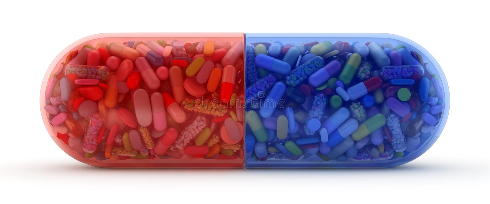 Large red and blue pill filled with colorful pills stock illustration