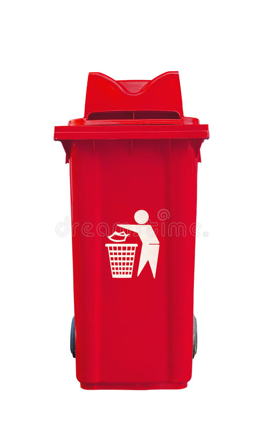 Large red garbage bin. On white black ground stock photo
