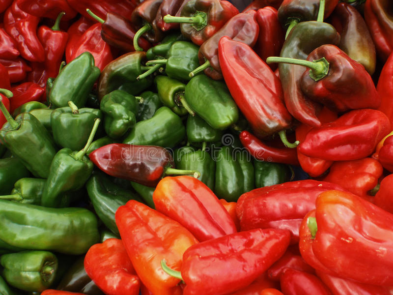Large Red and Green Organic Peppers stock image