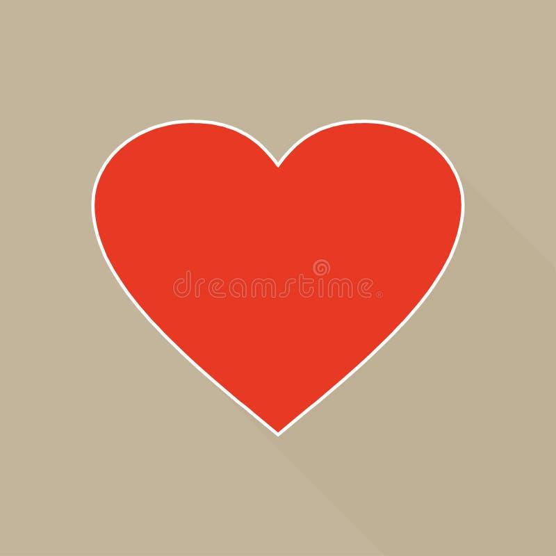 Large red heart shape in beige background stock illustration