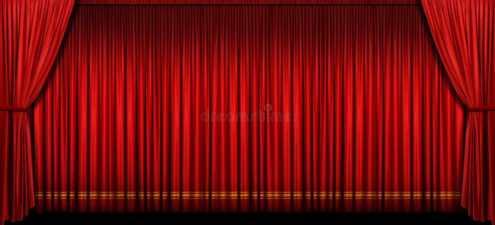 Large Red Stage Curtain. With light and shadow royalty free stock images