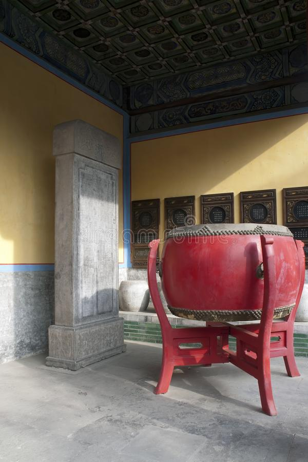 Large red traditional drum at entrance to the Beijing Temple of Confucius stock image