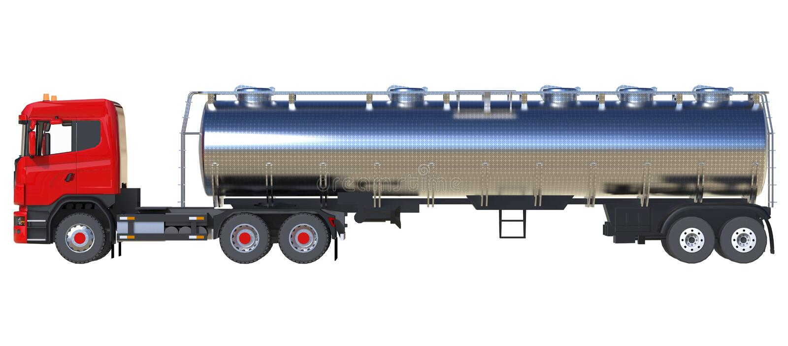 Large red truck tanker with a polished metal trailer. Views from all sides. 3d illustration. vector illustration