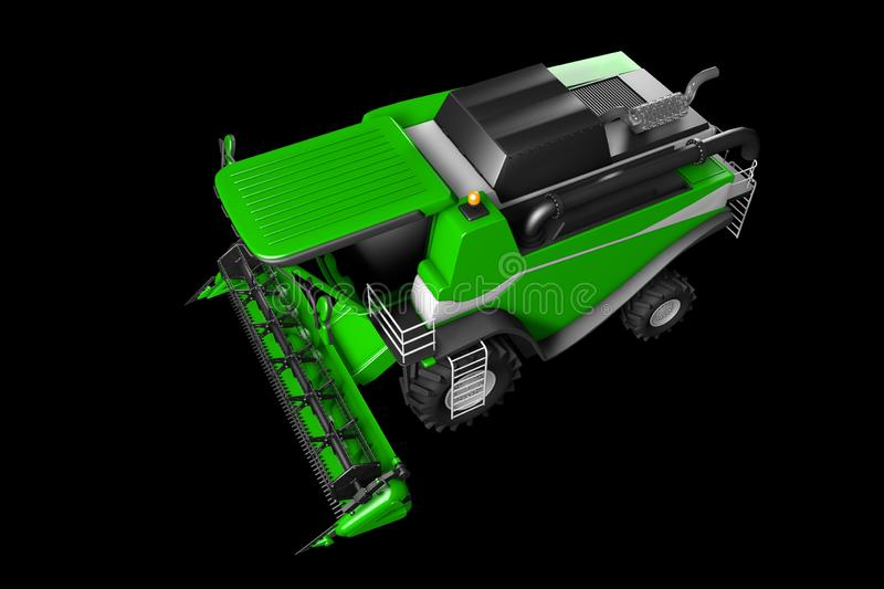 Industrial 3D illustration of huge beautiful green farm agricultural combine harvester top view isolated on black vector illustration