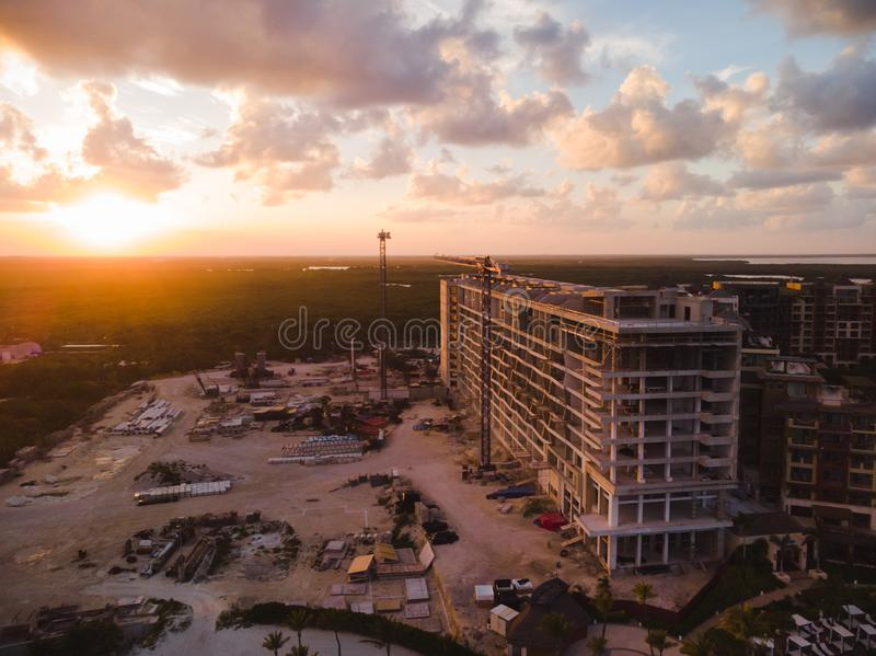 A large resort construction project near Cancun, Mexico. stock photo