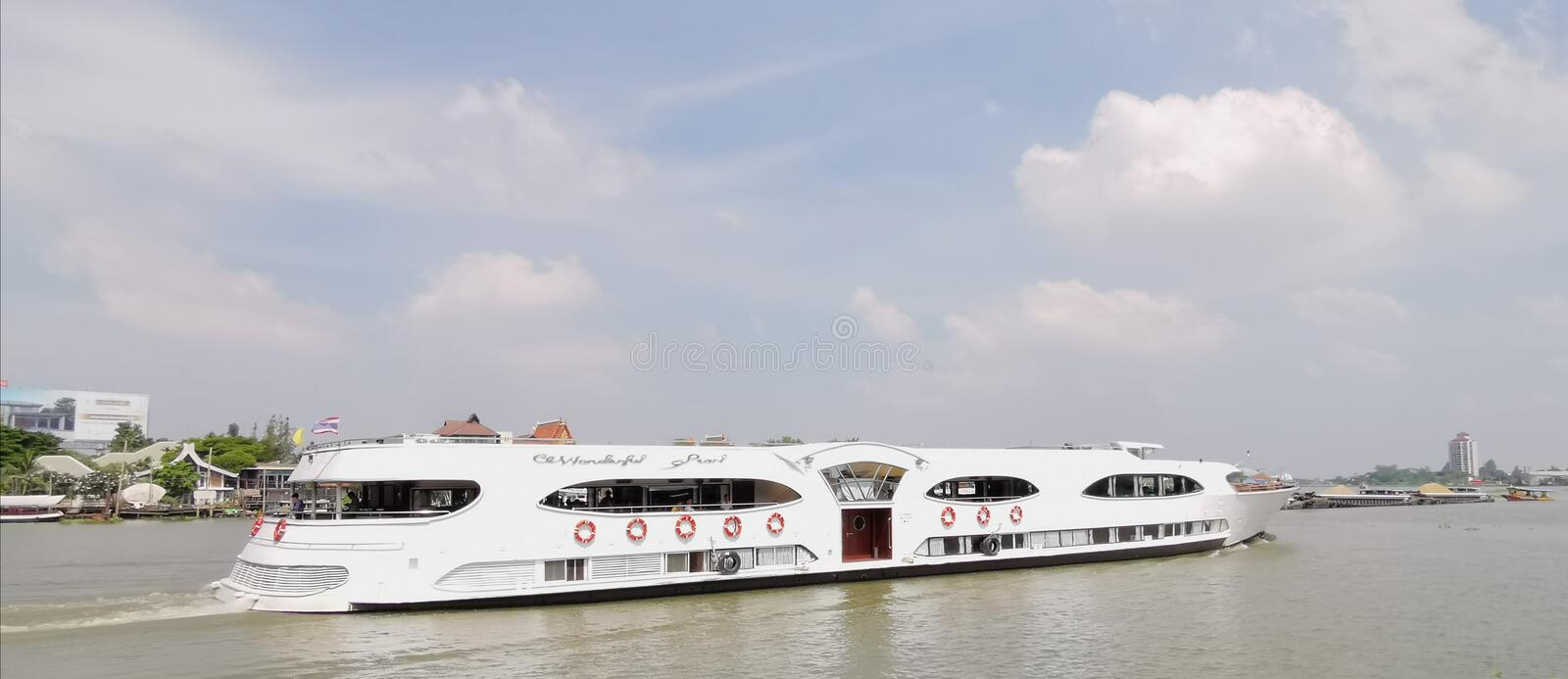 Large river cruise boat, Thailand. Goes up the Chao Phraya River on October 29, 2019 in Pakkret, Nonthaburi, Thailand royalty free stock photography
