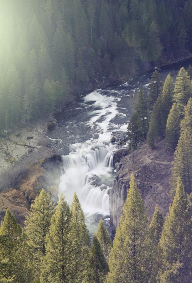 Large river waterfall cutting through trees in the woods royalty free stock photography