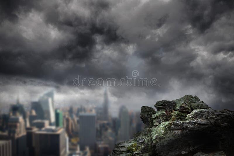 Large rock overlooking dark city vector illustration