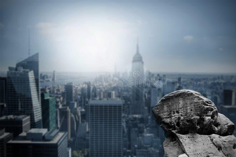 Large rock overlooking dark city stock illustration