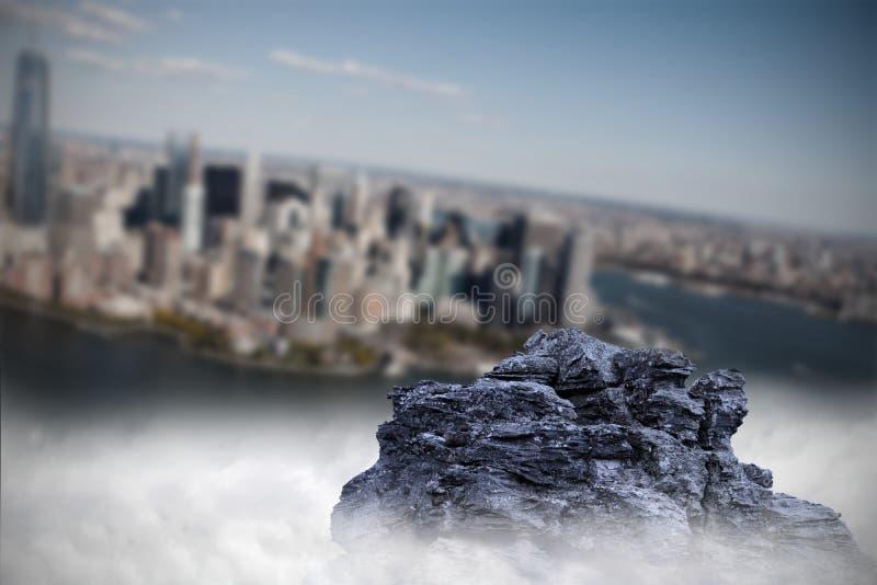 Large rock overlooking island city royalty free illustration