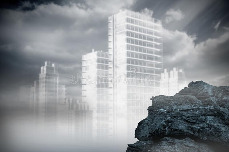 Large rock overlooking outline of city vector illustration