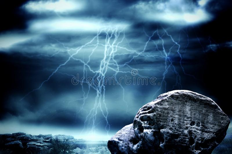 Large rock overlooking stormy sky stock illustration