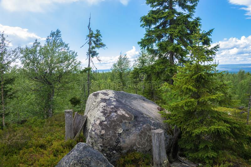 Large rocks boulders in the nature reserve of mount Vottovaara,. Large stones boulders in the nature reserve of mount Vottovaara, Karelia, Russia royalty free stock photography