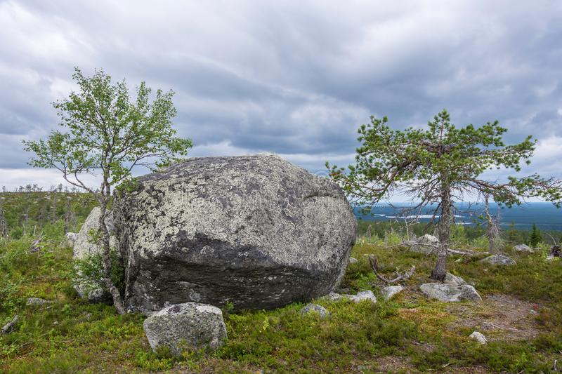 Large rocks boulders in the nature reserve of mount Vottovaara,. Large stones boulders in the nature reserve of mount Vottovaara, Karelia, Russia stock photography