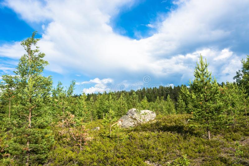 Large rocks boulders in the nature reserve of mount Vottovaara,. Large stones boulders in the nature reserve of mount Vottovaara, Karelia, Russia stock photo