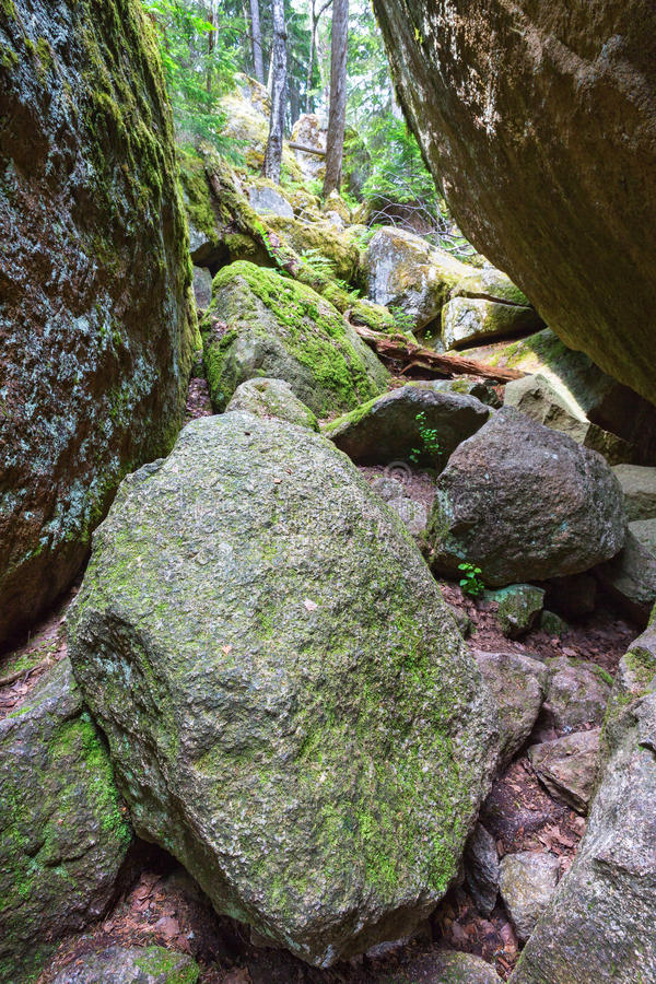 Large rocks. On the footpath to pass royalty free stock photography