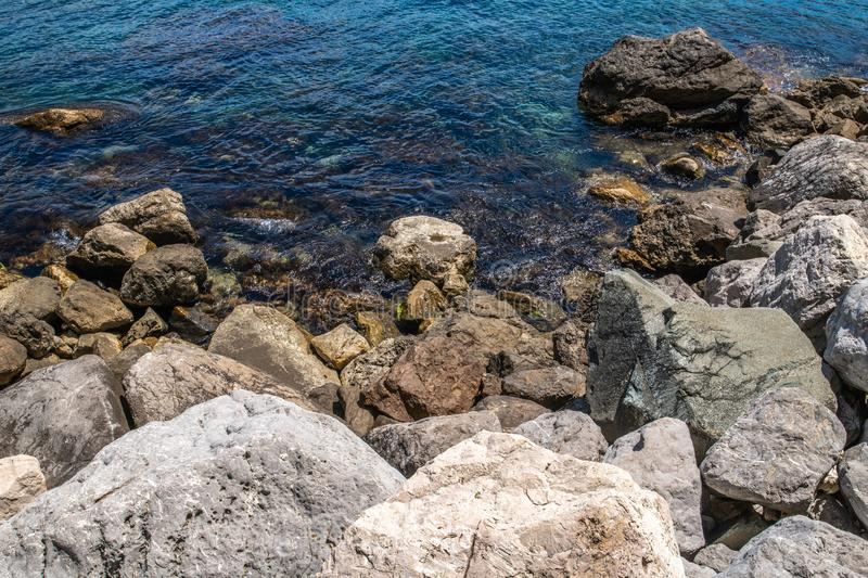 A Large rocks on the seashore. Large rocks on the seashore royalty free stock photography