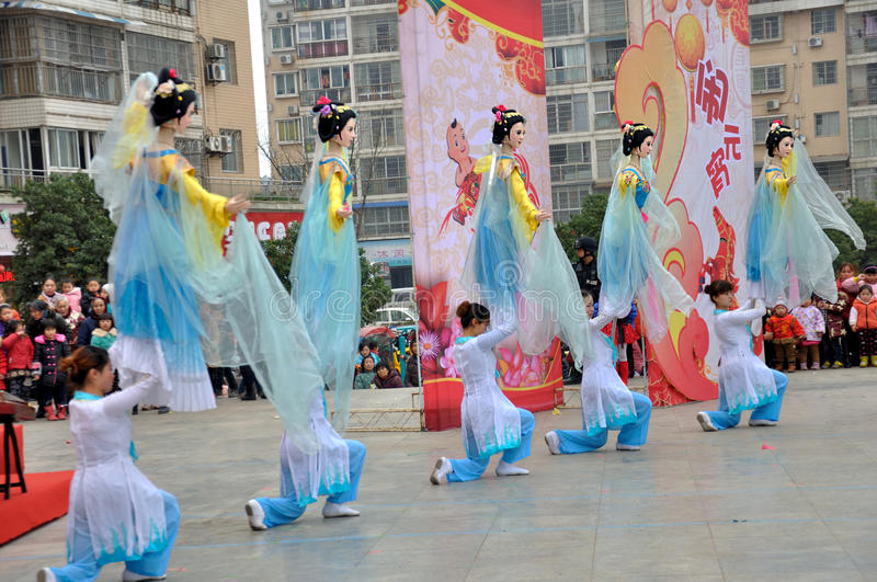 Large Rod Puppet Show on Lantern Festival. The large-sized puppets are used in the puppet shows of northern Sichuan that are popularly known as Northern Sichuan stock images