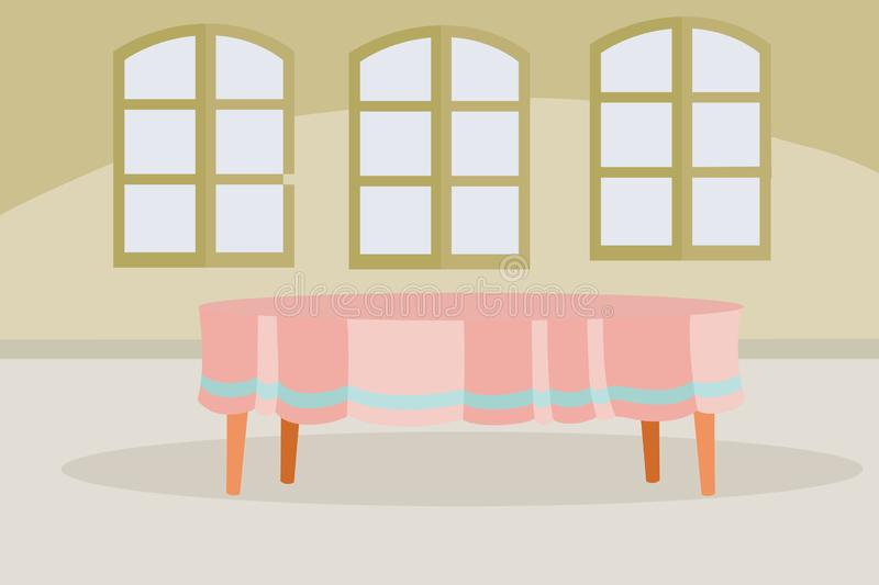 In a large room with three windows there is a large oval table covered with a tablecloth, vector illustration. In a large room with three windows there is a vector illustration
