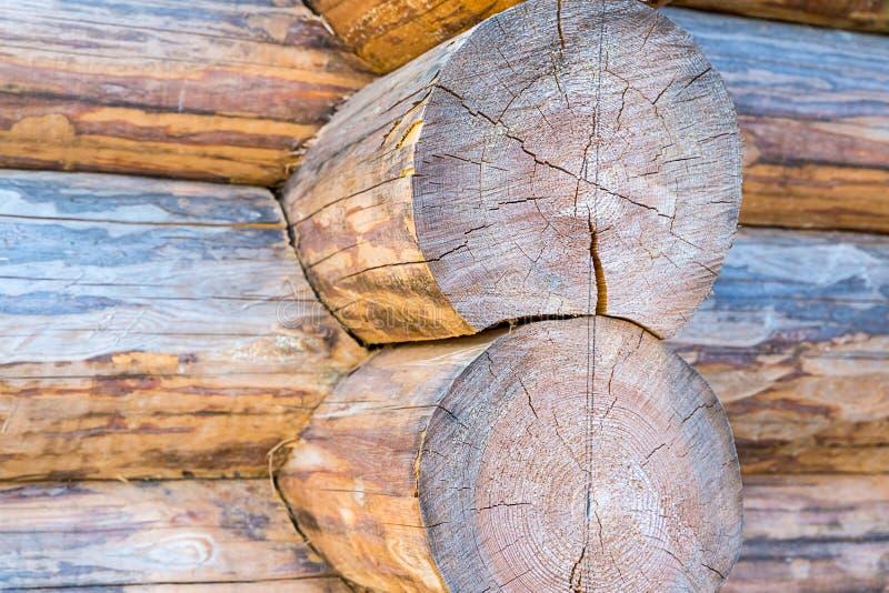 Large round log wooden background folded wall house rustic background base base close-up light beige pattern stock images
