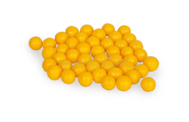 Large round yellow pills stock photo