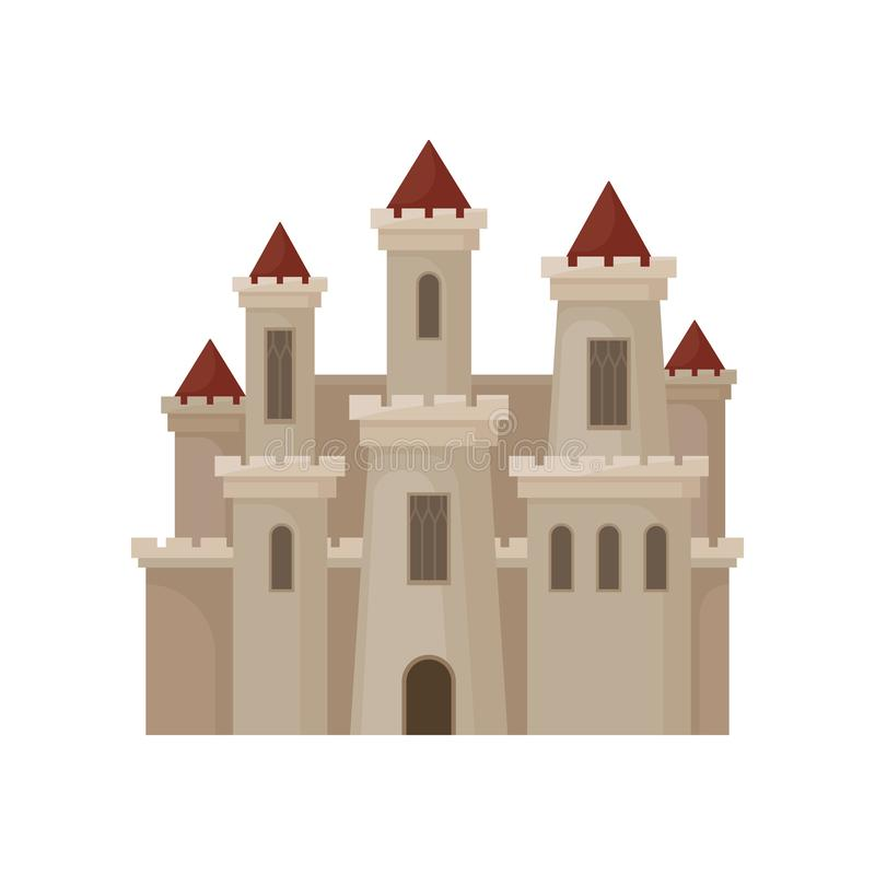 Free Large Royal Castle. Fortress With Big Windows, High Towers And Red Conical Roofs. Flat Vector For Children Book Stock Image - 127566721