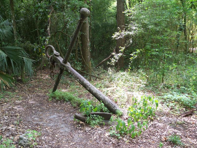 An old iron anchor in a tropical forest. A large rusting iron anchor, probably from the 1800s lies in a Florida forest royalty free stock photo
