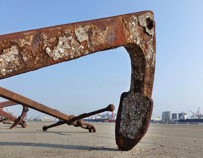 Large Rusty Buoy Anchor royalty free stock photography