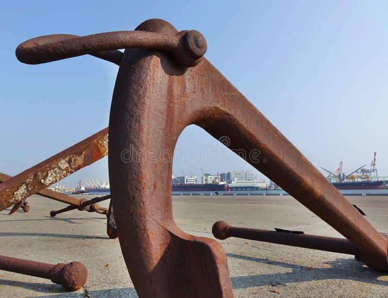 Large Rusty Buoy Anchor stock photo