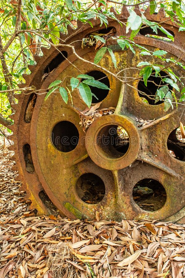 Large rusty gear of Tin Dredge in the deserted tin mine. Dry leaves fall on the ground, tropical forest backgrounds. Thai Mueang, Phang Nga, South Thailand stock photography