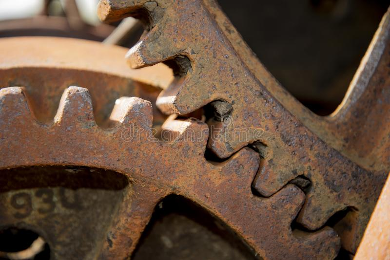 Large Rusty Meshed Metal Gears royalty free stock photo