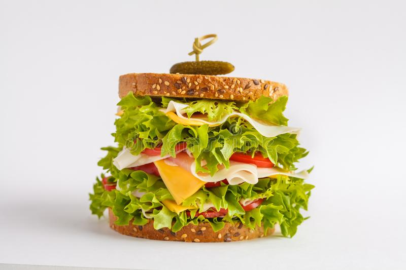 Large sandwich with lettuce, cheese, meat and tomato isolated on stock images