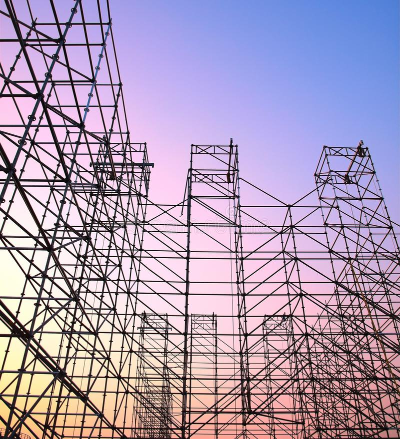 Large Scaffolding for Outdoor Concert royalty free stock photos