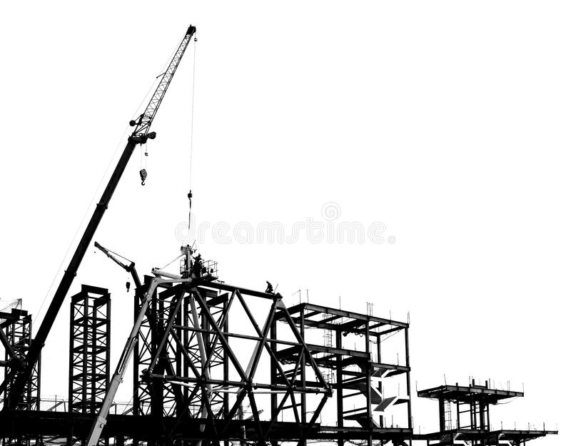 large scale construction in outline stock image