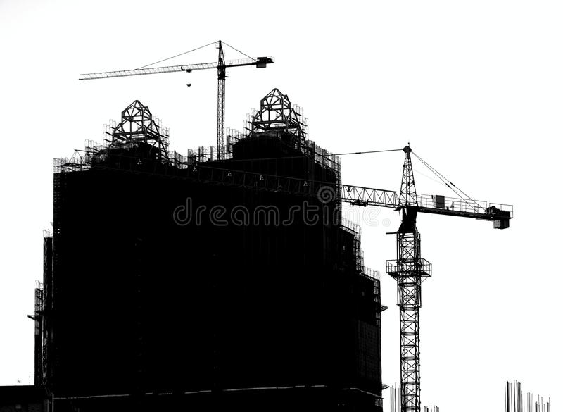 Large Scale Construction in Silhouette stock photo