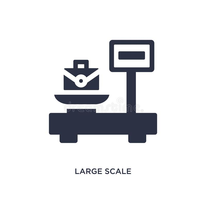 large scale with suitcase icon on white background. Simple element illustration from measurement concept royalty free illustration