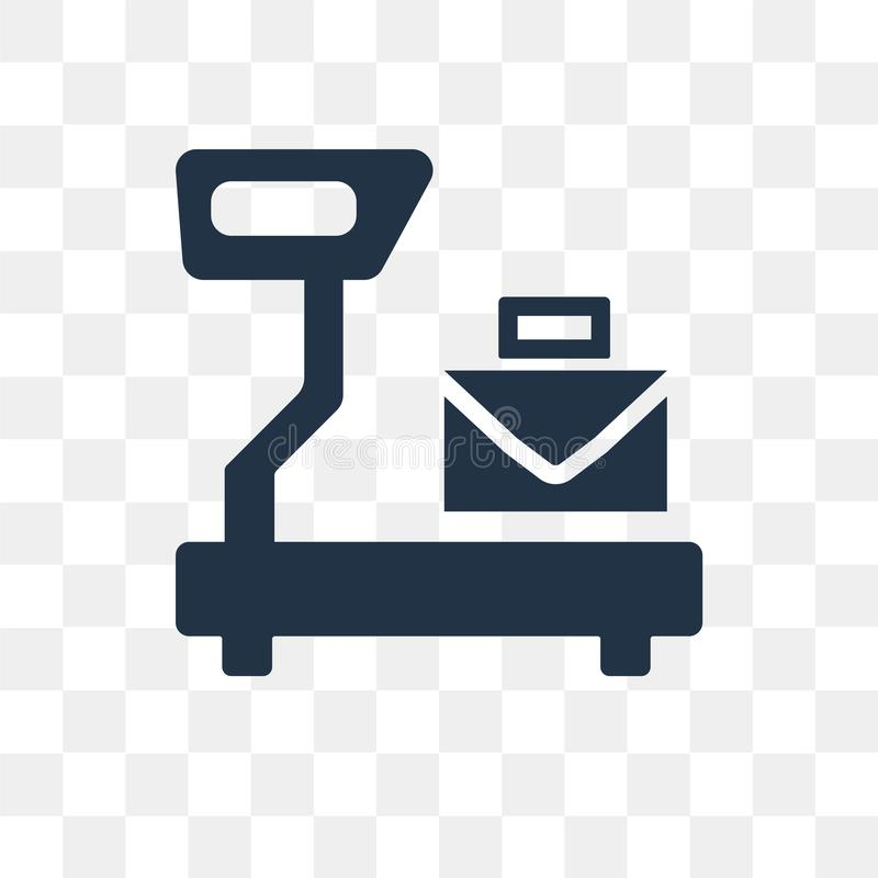 Large Scale with Suitcase vector icon isolated on transparent ba stock illustration