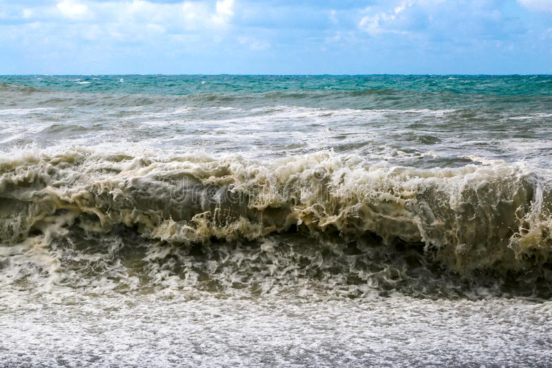 Large sea waves breaking on the shore. royalty free stock images