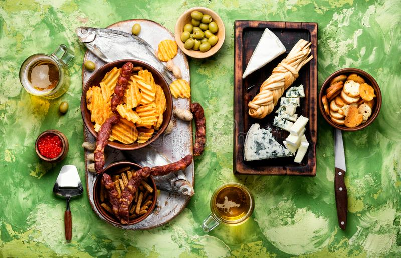Huge set of snacks for beer royalty free stock photos